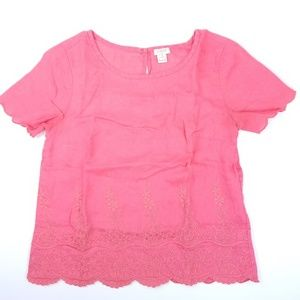 J Crew Embroidered Pink Floral Short Sleeve Petite